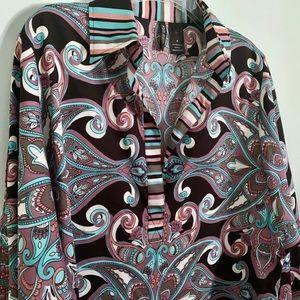 Boho Flowy Paisley Split-Sleeve Popover Blouse S